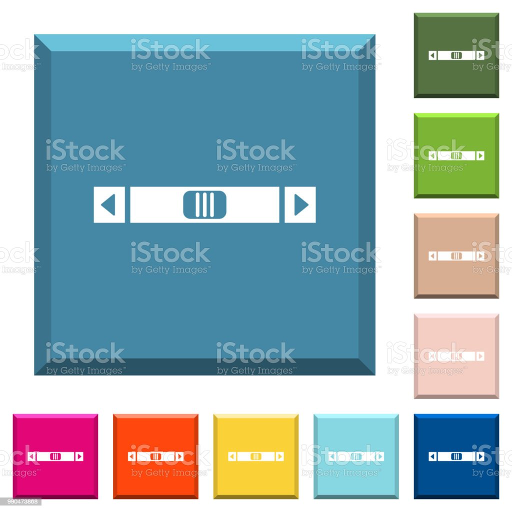 Horizontal Scroll Bar White Icons On Edged Square Buttons
