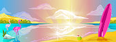 Exotic paradise view in cartoon style. Tropical summer background for banners, wallpapers