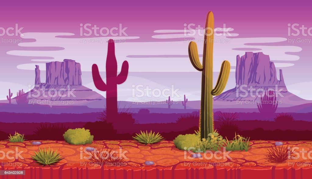 Horizontal seamless background of landscape with desert and cactus - Royalty-free Arizona stock vector