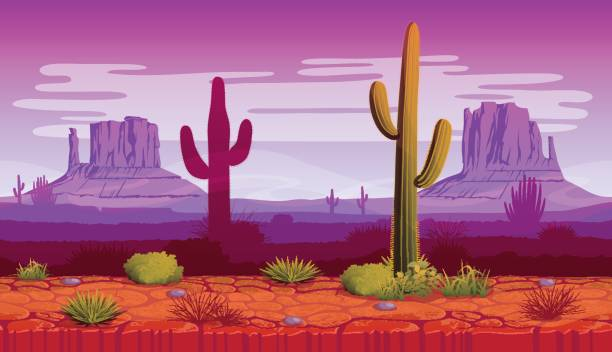 Horizontal seamless background of landscape with desert and cactus vector art illustration