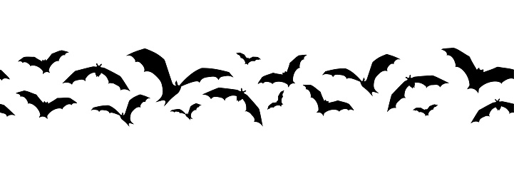 Horizontal seamless background with bats. Vector illustration.