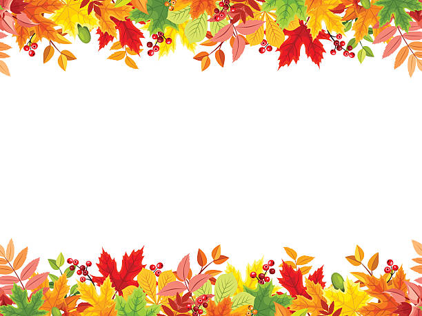 Horizontal seamless background with colorful autumn leaves. Vector illustration. Vector horizontal seamless frame with colorful autumn leaves on a white background. autumn borders stock illustrations