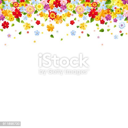 Vector horizontal seamless background with bright colorful flowers and leaves.