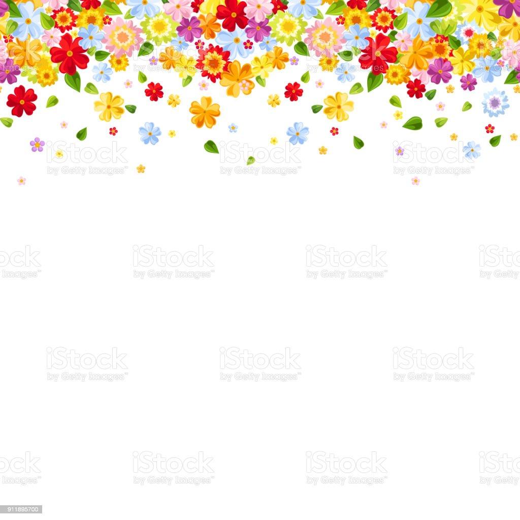 水平シームレスな背景にカラフルな花柄です。ベクトルイラスト。 ベクターアートイラスト