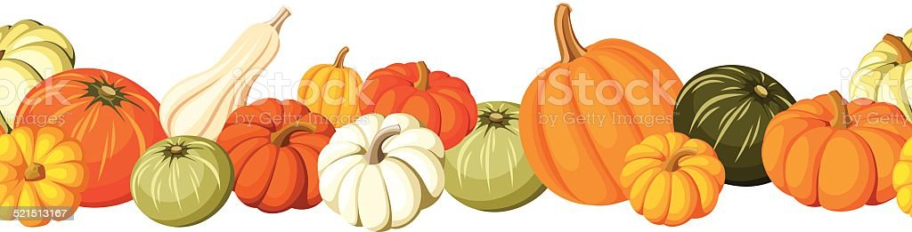 Horizontal seamless background with colorful pumpkins. Vector illustration. vector art illustration