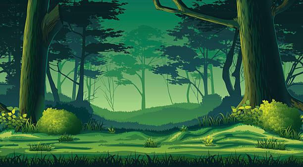 bildbanksillustrationer, clip art samt tecknat material och ikoner med horizontal seamless background with forest - forest