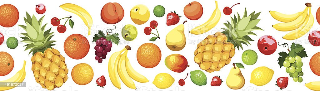 Horizontal seamless background with fruits. Vector illustration. vector art illustration