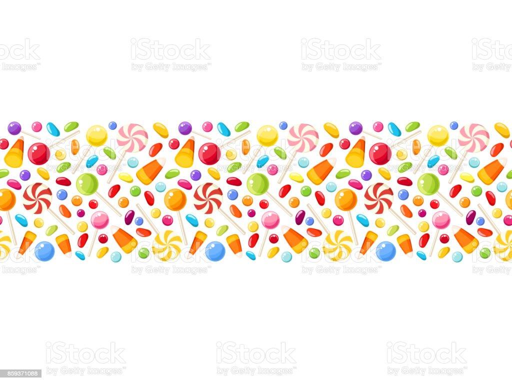 Horizontale sans soudure fond avec des bonbons d'Halloween. Illustration vectorielle. - Illustration vectorielle