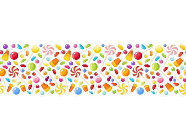 horizontal seamless background with halloween candies. vector illustration. - halloween candy stock illustrations