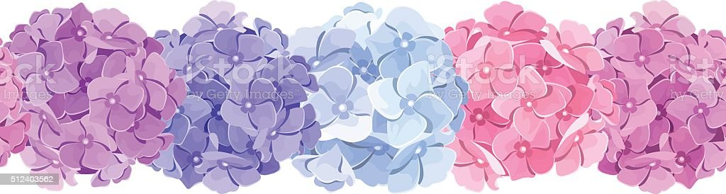 Horizontal seamless background with pink, blue and purple hydrangea flowers. vector art illustration