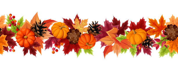 Horizontal seamless background with pumpkins and colorful autumn leaves. Vector illustration. Vector horizontal seamless background with orange pumpkins, pinecones and colorful autumn leaves. autumn borders stock illustrations