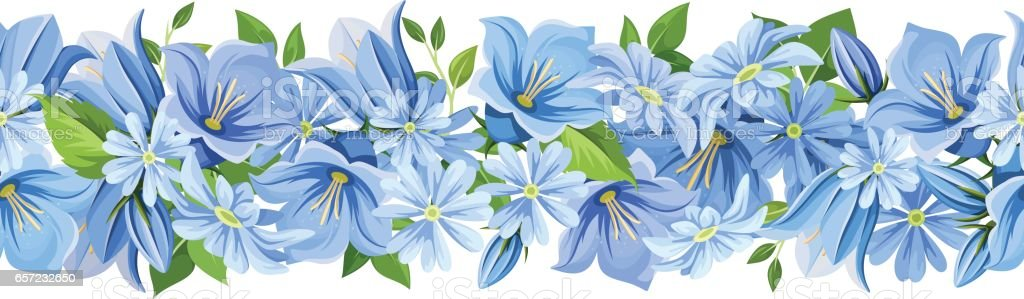 horizontal seamless border with blue flowers vector