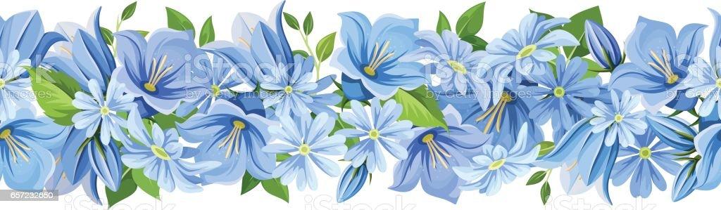 Horizontal seamless border with blue flowers. Vector illustration. ベクターアートイラスト
