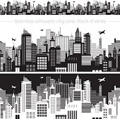 Horizontal cityscape with airplanes, abstract vector illustration. City view with urban elements - office buildings, shopping center, skyscrapers and other houses. Seamless pattern, white background