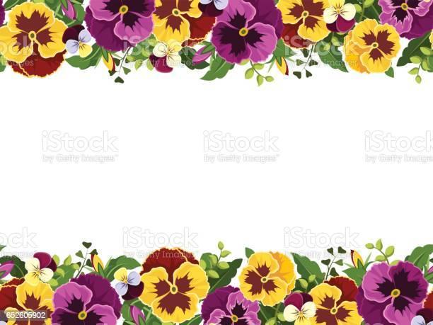 Horizontal seamless frame with pansy flowers vector illustration vector id652605902?b=1&k=6&m=652605902&s=612x612&h=r04iu3rzekc0wumhruwqplq31nmps8dpvuisrgnuugo=