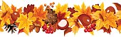 Vector horizontal seamless garland with orange, yellow and brown autumn leaves on a white background.