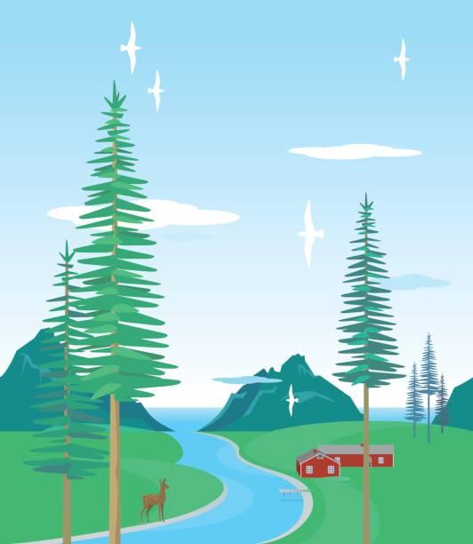illustrazioni stock, clip art, cartoni animati e icone di tendenza di horizontal seamless northern summer pattern, a drawing of a landscape. - fiordi