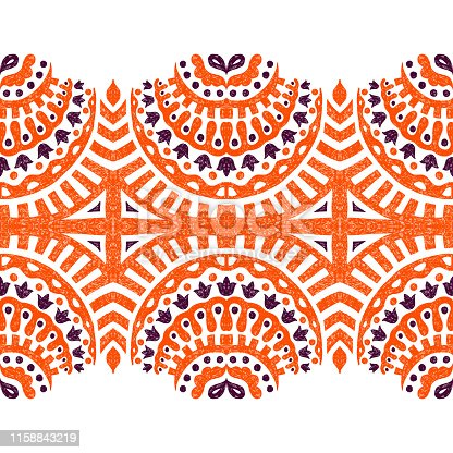 horizontal seamless ornament drawn in pencil, ethnic and tribal motifs, vector illustration