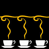 Horizontal seamless pattern of beverage cups and fragrance in the Art Nouveau style on a black background