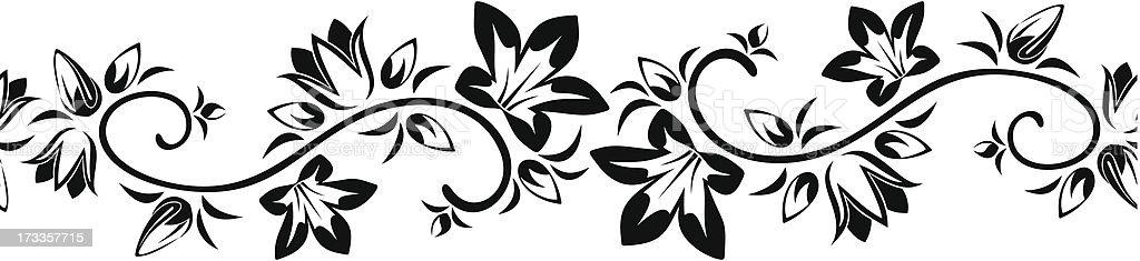 Horizontal seamless vignette with flowers. Vector illustration. royalty-free stock vector art