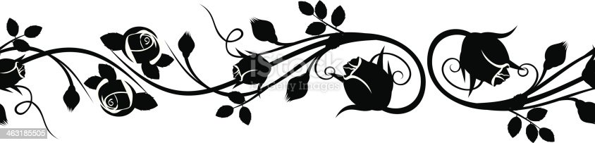Vector horizontal seamless vignette with silhouettes of rose buds on a white background.