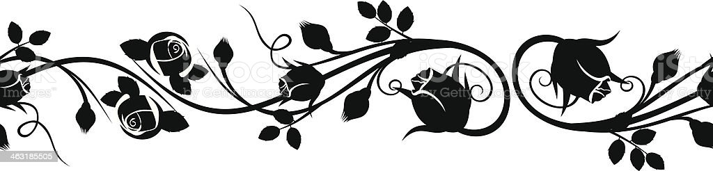 Horizontal seamless vignette with rose buds. Vector illustration. vector art illustration
