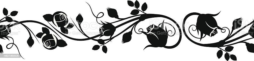 Horizontale nahtlose vignette mit rosa Knospen.  Vektor-illustration. – Vektorgrafik