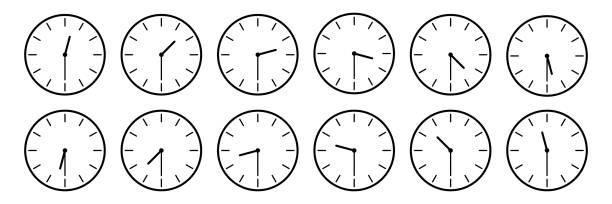 bildbanksillustrationer, clip art samt tecknat material och ikoner med horisontella uppsättning analog klocka ikonen meddela isolerade varje halv ett timme tid på vit, vektorillustration - nummer 30