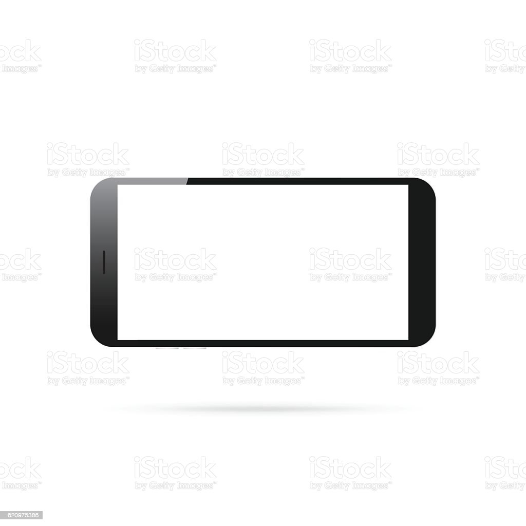 Horizontal Smartphone Isolated On White Background Mobile Phone ...