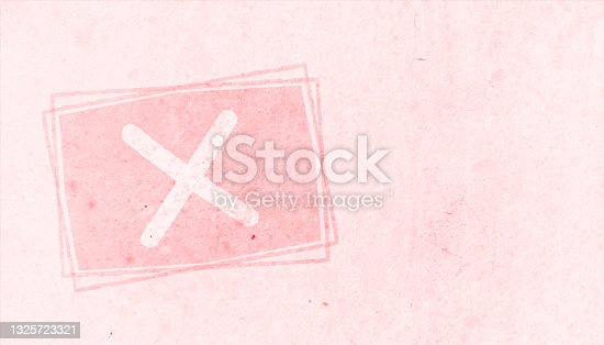 istock Horizontal soft faded pink colored spotted cross or error or incorrect mark, sign or symbol inside a bordered or framed pastel slightly dark peach rectangle over peach vector backgrounds 1325723321