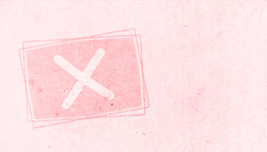 A faded pink colored cross mark symbol over a pale darker peach rectangle. There is ample copy space and no people. Apt for use as educational and learning tools or charts for kids or Quality Control, Approved or Failed, related backdrops.