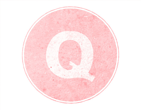 Horizontal soft faded pink colored spotted Upper case or capital alphabet or letter Big Q encircled inside a bordered or framed pastel light peach circle over white vector backgrounds- part of series