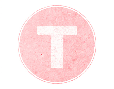 Horizontal soft faded pink colored spotted Upper case or capital alphabet or letter Big T encircled inside a bordered or framed pastel light peach circle over white vector backgrounds- part of series