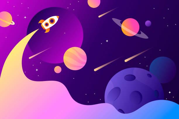 горизонтальный фон пространства с абстрактной формой и планетами. веб-дизайн. освоение космоса. векторная иллюстрация. запуск ракеты - space background stock illustrations