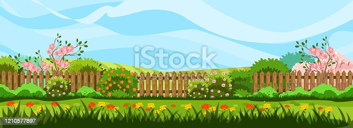 istock Horizontal spring landscape with garden, fence, trees in bloom, bushes and blue sky. 1210577897