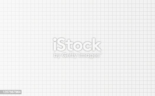 istock Horizontal Squared paper texture for school Notebook page in cage. Vector background in cell. School backdrop template. 1257567964