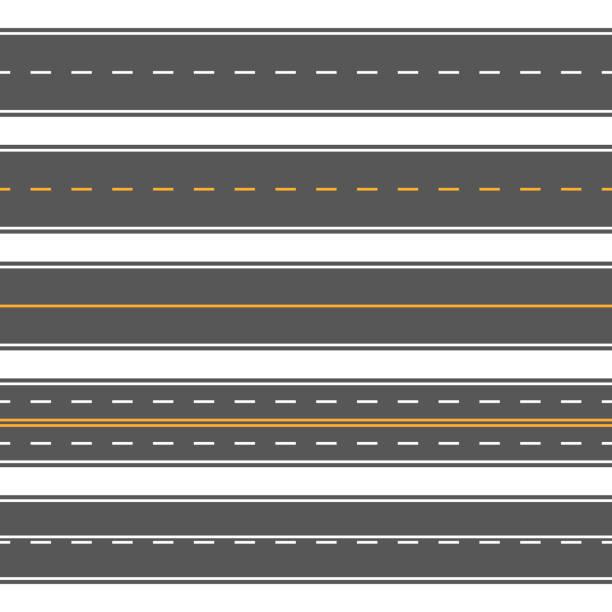 Horizontal straight seamless roads. Modern asphalt repetitive highways Horizontal straight seamless roads. Modern asphalt repetitive highways. Road asphalt straight seamless, highway street for transportation illustration highway stock illustrations