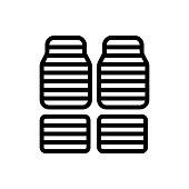 horizontal striped car mats icon vector. horizontal striped car mats sign. isolated contour symbol illustration