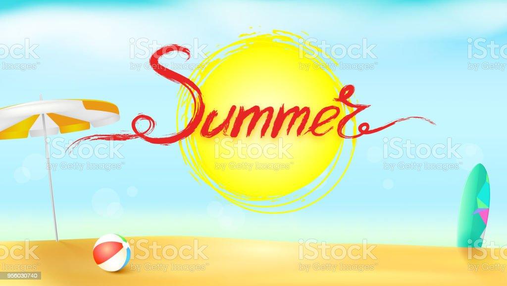 パラソル、膨脹可能な球とサーフボードの水平夏背景。太陽のマークの上アクリル手書きテキスト夏。黄金の砂と青い空と太陽が降り注ぐビーチ ベクターアートイラスト