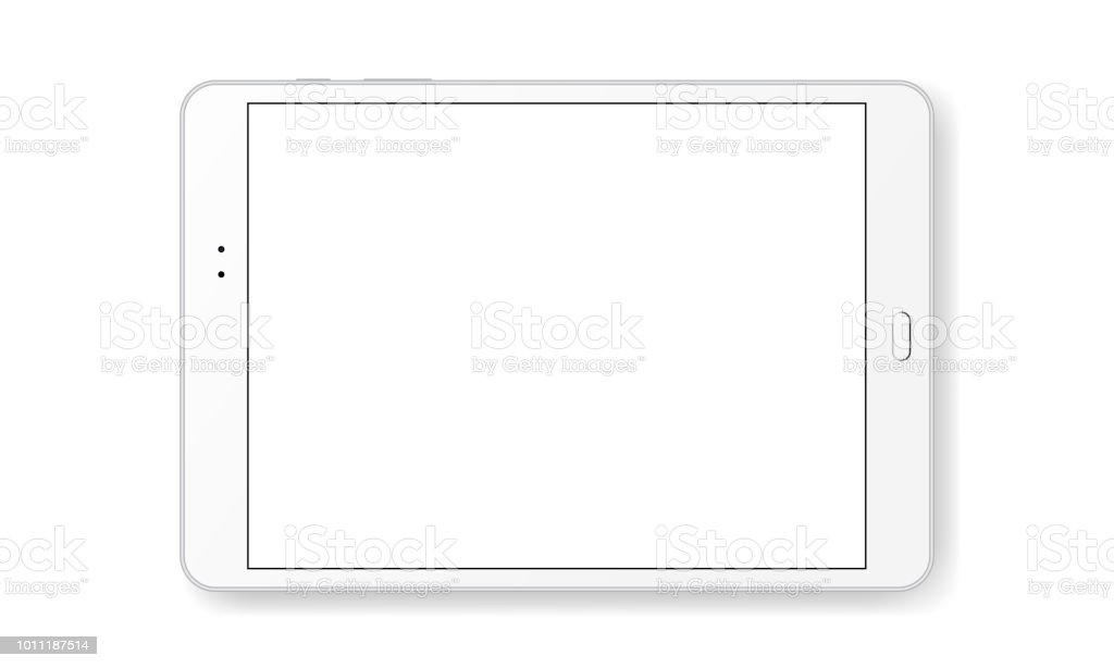 Horizontal tablet computer mock up isolated on white background