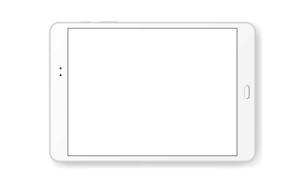 Horizontal tablet computer mock up isolated on white background Horizontal tablet computer mock up isolated on white background - front view. Vector illustration ipad stock illustrations
