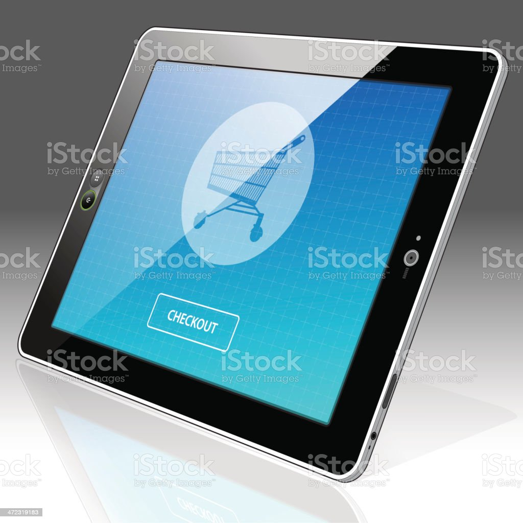 Horizontal Tablet PC online shopping - Right side view royalty-free stock vector art