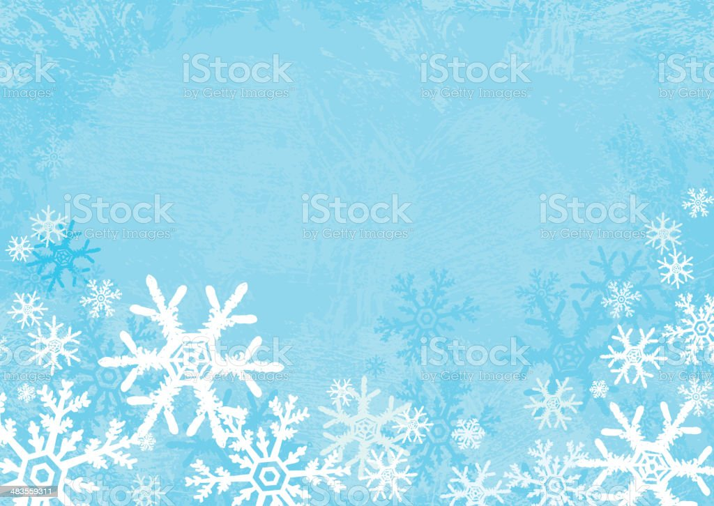 Horizontal textured snowflake background vector art illustration
