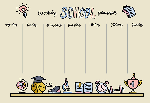 Horizontal Timetable for elementary school. Weekly planner template with cartoon school objects and symbols on pastel yellow background. Hand drawn doodle linear color style