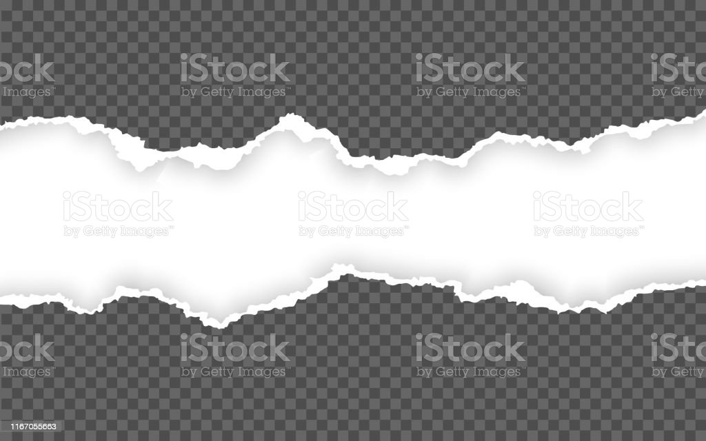 Horizontal torn paper edge. Ripped squared horizontal paper strips....