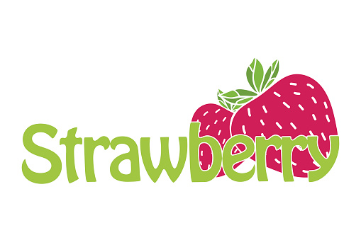 Horizontal trendy strawberry symbol. Text and illustration in flat design.