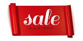 Black Friday sale horizontal banner, red advertising roll ribbon. Vector illustration