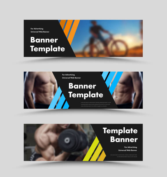 horizontal vector  black web banner templates with diagonal color lines and space for photo. - banner ads templates stock illustrations