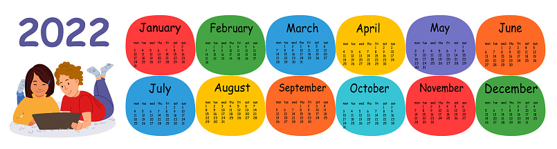 Horizontal vector calendar design template for 2022, flat design. Calendar for the year 2022 for a home with a boy and a girl with a tablet.