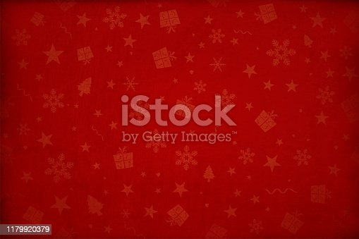 Dark maroon, deep red colored gradient paper textured effect wall texture Xmas vector starry background, wallpaper- horizontal. Different sized dull pale reddish colored gift boxes, snowflakes, Xmas trees, stars and swirls allover the background. Paper texture. Cracked, crumpled look. No text, No people. Copy space. Blotched surface. Stained look. Paint brush stroke wall effect. Scuff marks. Dark corners and bright center, centre, middle. Stars are faded and watermark. Can be used as Christmas, New Year party wallpaper, celebration, festive background, gift wrapping sheet, in stellar backdrop.